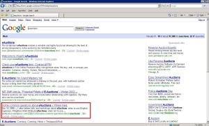 eAuctions Search In Google