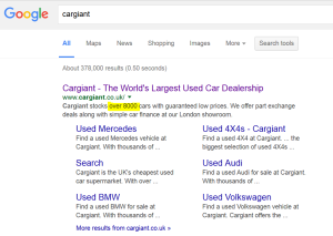 Car Giant organic search results